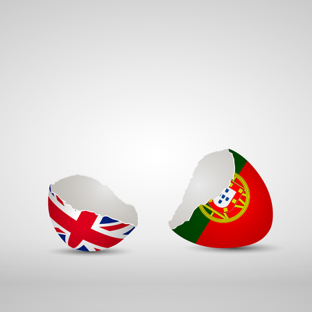 Cracked egg shell, one side with flag of United Kingdom and other one with flag of Portugal Ilustração