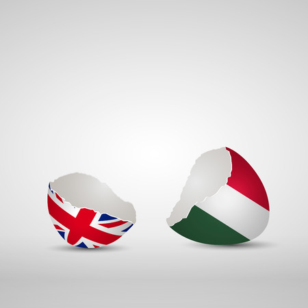 Cracked egg shell, one side with flag of United Kingdom and other one with flag of Hungary