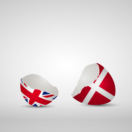 england politics: Cracked egg shell, one side with flag of United Kingdom and other one with flag of Denmark Illustration