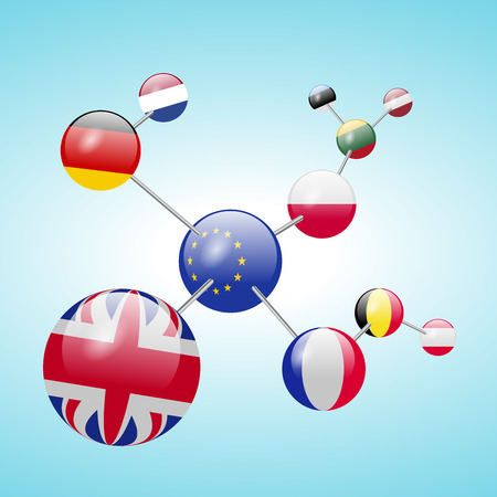 Molecular model with flags. Illustration