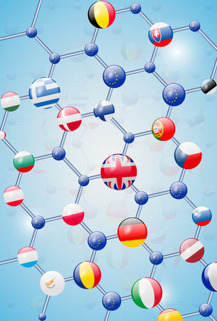 Molecular model with flags Banco de Imagens - 63417499
