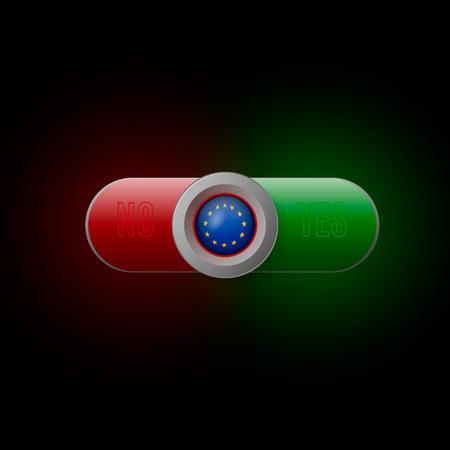 Glossy button with European Union flag Ilustração