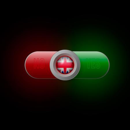 Glossy button with British flag Ilustração
