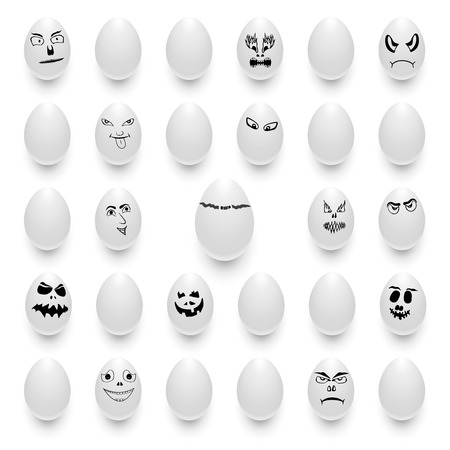 Vector set of eggs with different emotions Banco de Imagens - 63417515