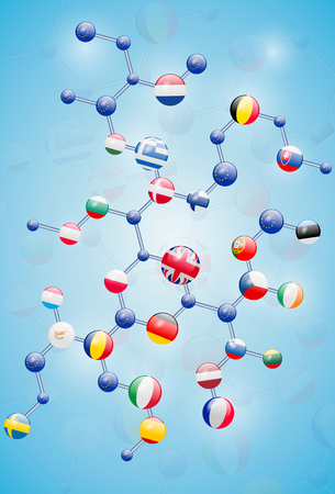 Molecular model with flags Banco de Imagens - 63417520