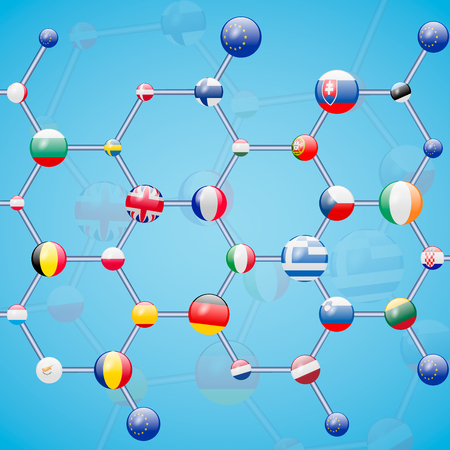 Molecular model with flags