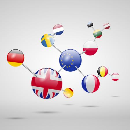 Molecular model with flags. Banco de Imagens - 63417545