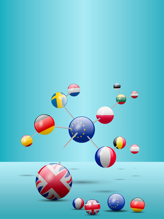 Molecular model with flags. Ilustração