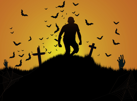 Halloween cemetery background Banco de Imagens - 108918607