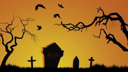 Halloween cemetery background. Ilustração