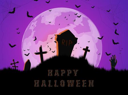 Halloween cemetery background. Banco de Imagens - 108918612
