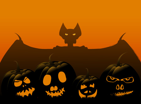 Halloween background with pumpkins and bat, vector illustration Banco de Imagens - 108930763