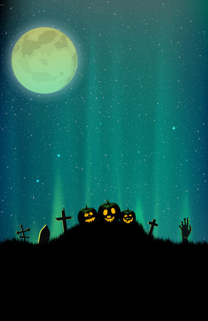 Halloween cemetery vector illustration with northern light