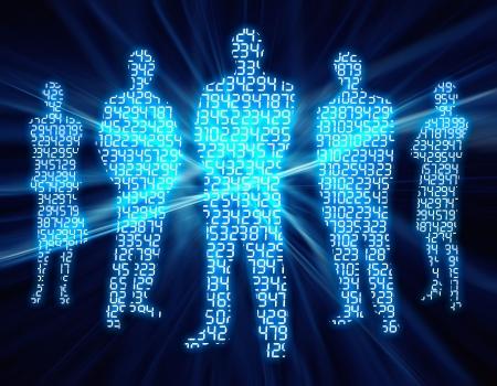 Binary Digit Mensen Stockfoto