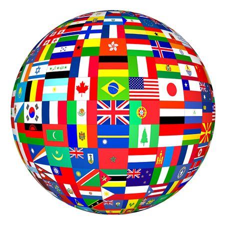 banderas del mundo: Banderas Globe  Foto de archivo