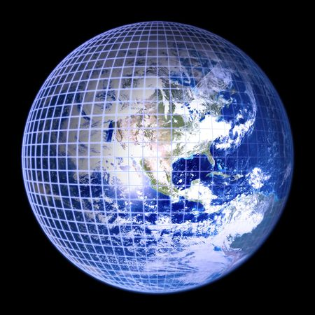 multinational: Earth Globe Blue Frame