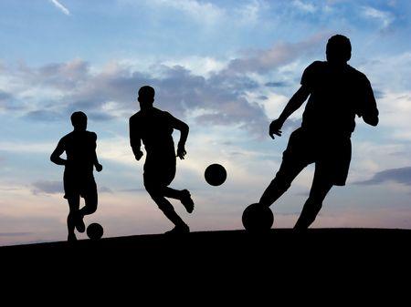 Entrenamiento Del F�tbol (Cielo) Foto de archivo - 459221