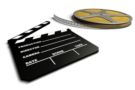 screenplay: Film Roll And Clapboard
