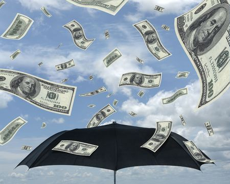 prosperous: Wealth idea in a metaphor of rain of dollars. Bill of 100 dollars only. Stock Photo