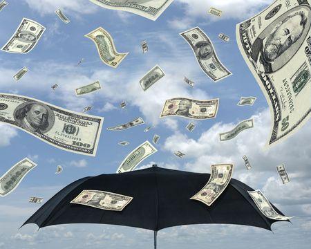 Wealth idea in a metaphor of rain of dollars. Stock Photo - 793733