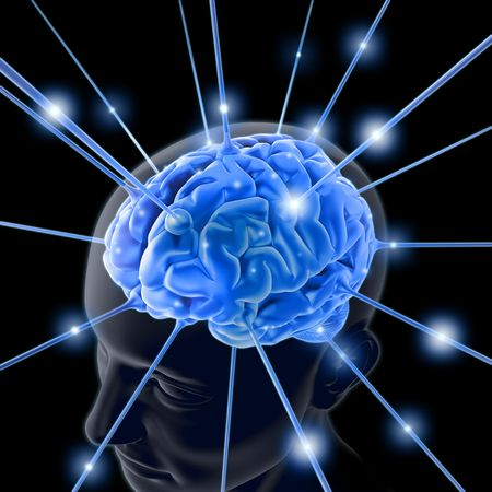 brains: The brain is being energized through the strings. The concept of intelligence Stock Photo