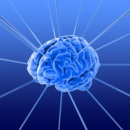 The brain is being energized through the strings. The concept of intelligence Stock Photo