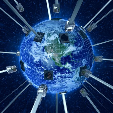 Concept of internet using the Virtual 3D Cable connecting with Planet Earth. Planet in the daylight with energy frame of connection. Stock Photo - 1261360