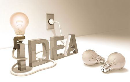 sudden: Concept of good idea. Brainstorm, Brain, Head, Mind, Bright idea, Sudden inspiration, all these words are related with this image. Stock Photo
