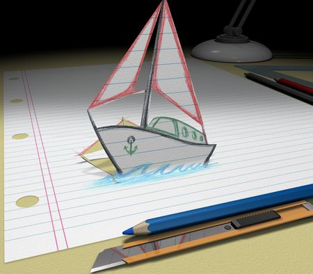In your dream you will buy a boat. Sketch your ideas and plans.