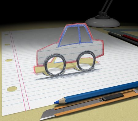 In your dream you will buy a car. Sketch your ideas and plans. Фото со стока