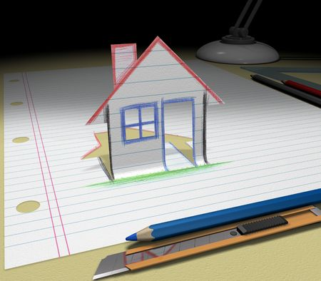 In your dream you will buy a house. Sketch your ideas and plans.