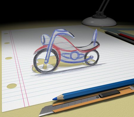 In your dream you will buy a motorcycle. Sketch your ideas and plans.