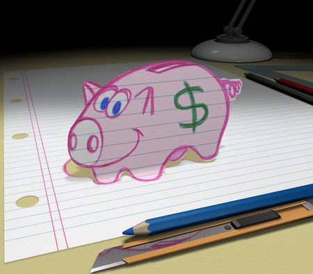 In your dream you will save much money. Sketch your ideas and plans. Фото со стока