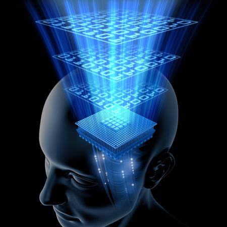 kopf: Das Gehirn denkt (Processor)  Lizenzfreie Bilder