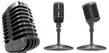 Classic microphone in perspective (close up) and orthogonal view (over white) Stock Photo - 1366358