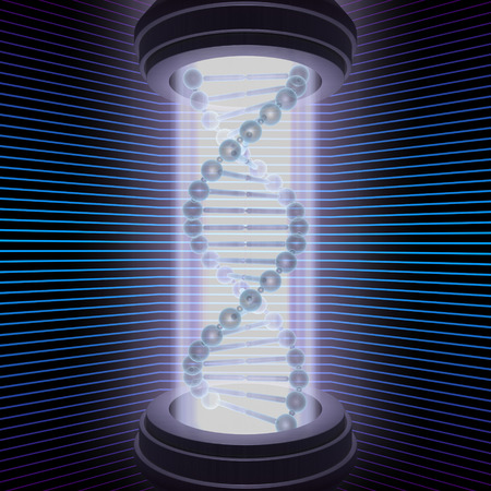 DNA Research. The science of the future, studies the DNA with a high technology machine. Stock Photo - 1412385