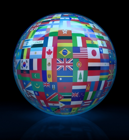 asia globe: More than 200 flags of all the world, united around of the globe. Concept of peace and union among the people of the world. Stock Photo