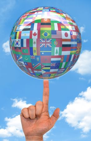 mundi: Globalize the world. More than 200 flags of all the world, united around of the globe. Concept of peace and union among the people of the world. Stock Photo