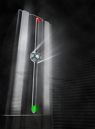 fiber optic lamp: Fiber Optic server, with red and green lamp indicator. This image is a concept of the technology. The bright indicates the processing power.
