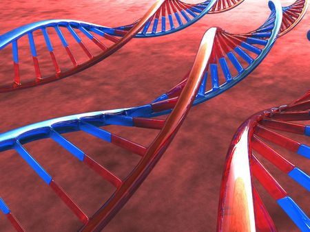 Three Frame of DNA over the warm background Stock Photo - 1914688