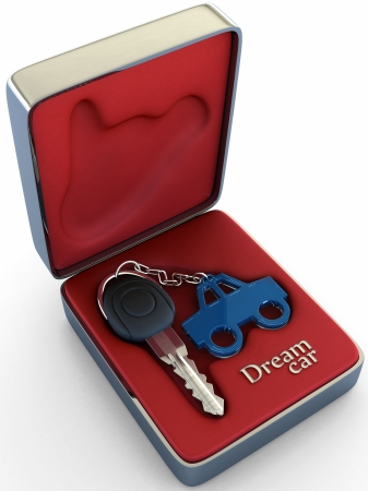 rent car: Concept of your dream car. The key inside a steel box, shows high comfort, class and refinement of a car, that wait for you.