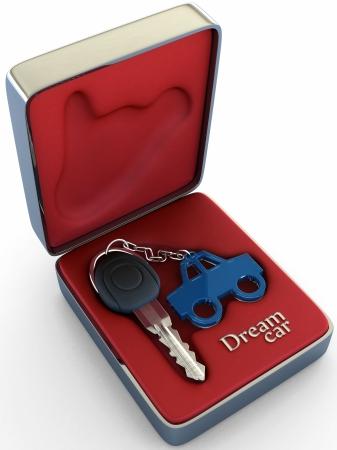 dream car: Concepto de veh�culo de sus sue�os. La clave dentro de una caja de acero, muestra de alto confort, clase y refinamiento de un coche, que espera por usted.  Foto de archivo