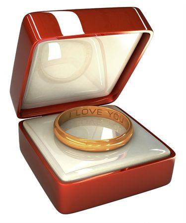 anillo de matrimonio: anillo de bodas 3D dentro de la caja. Dentro del anillo all� se escribe: Te quiero.