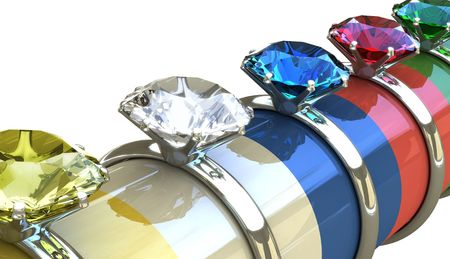 adamant: 3D diamond ring. Concept of wedding, valentine, wealth, consumes and expensive. Stock Photo
