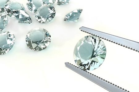 Choosing the best diamond of all. Concept of wealth and lust Stock Photo