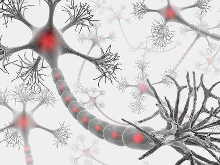 zenuwcel: Neuron met complete structuur voor het indienen van cellulaire signalen. Stockfoto