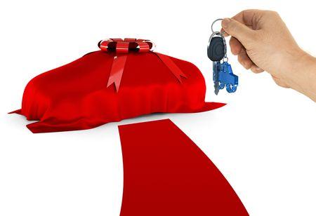 dream car: El coche est� cubierto sue�o y esperando que se revelan. La alfombra roja representa la riqueza y la lujuria. El mejor tratamiento para las personas que est�n comprando o ganar el coche. Foto de archivo