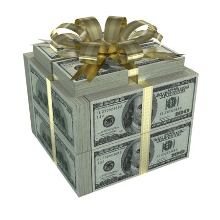 Concept of business growth, gift and donation. Many dollars in the format of a gift box.