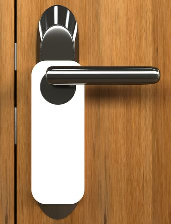 Doorknob. You can put your text on the white card.