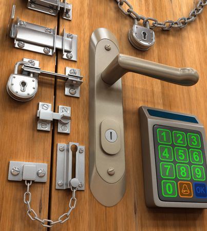 Security Concept. Many lock in only one door.  photo